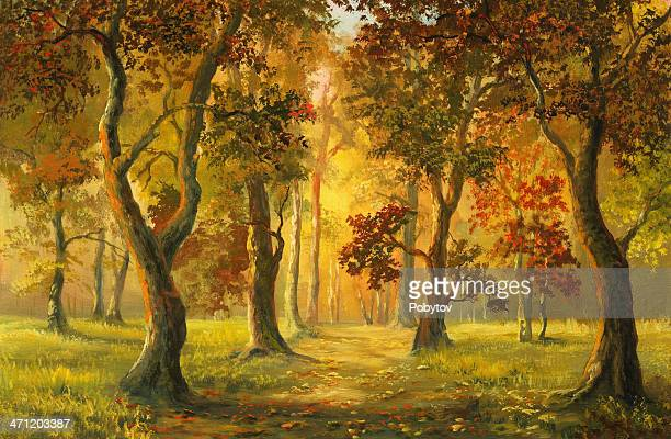 autumnal walk - southern usa stock illustrations, clip art, cartoons, & icons