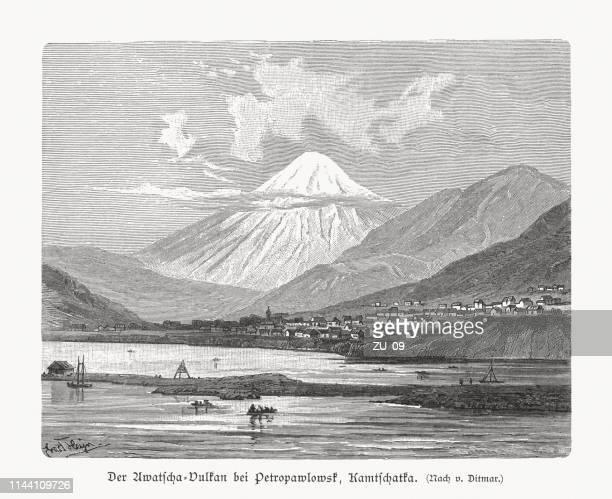avachinsky, active stratovolcano, kamchatka peninsula, russia, wood engraving, published 1897 - stratovolcano stock illustrations, clip art, cartoons, & icons