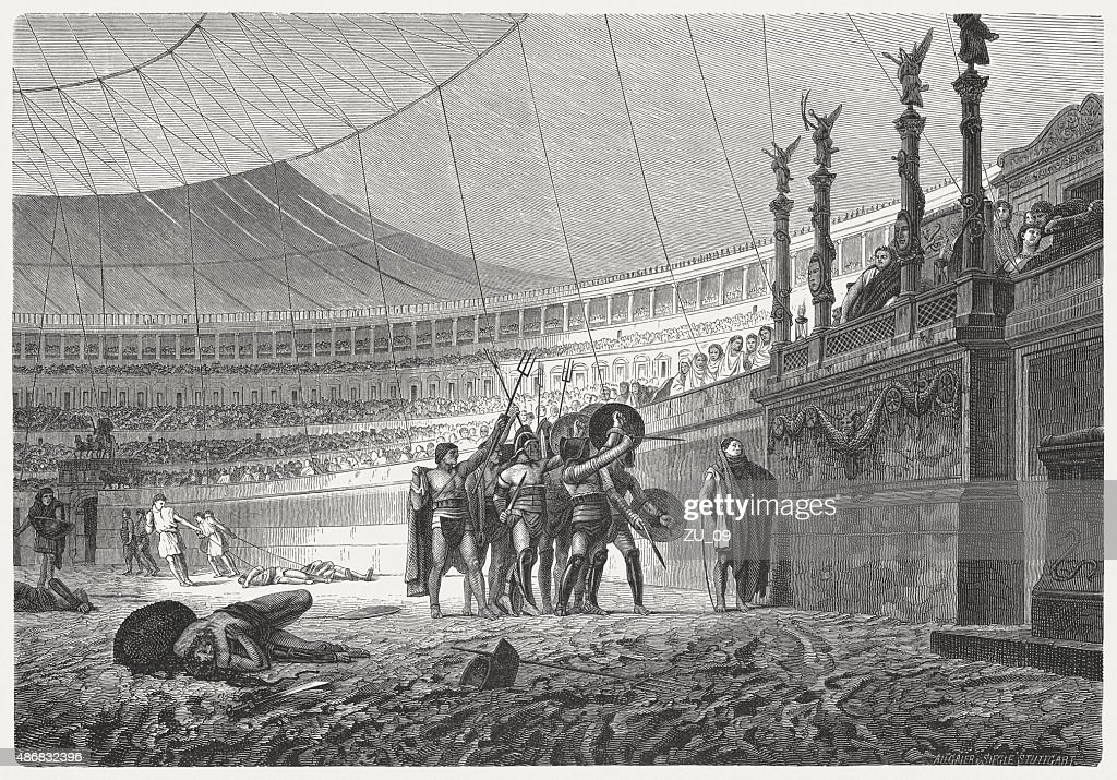 Ave Caesar. Gladiators salute the Emperor, published in 1878 : stock illustration
