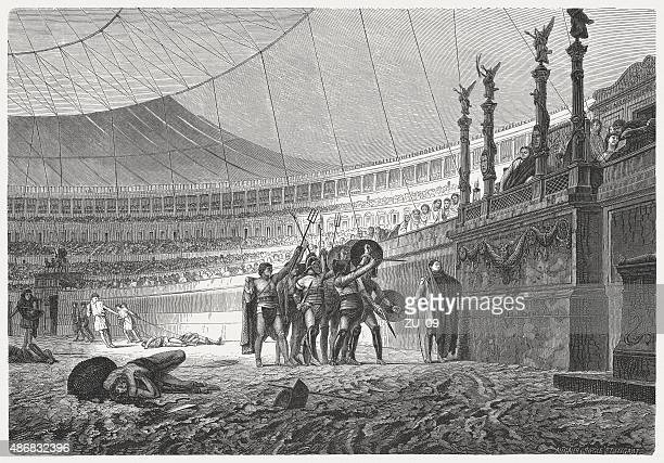 ave caesar. gladiators salute the emperor, published in 1878 - gladiator stock illustrations, clip art, cartoons, & icons