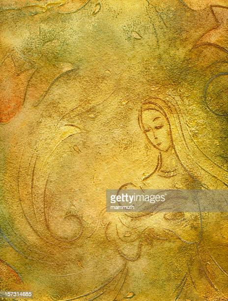 ave maria - blessed mother mary stock illustrations