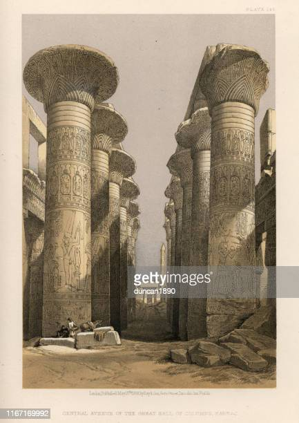 avenue of great hall of columns, karnak temple, egypt - thebes egypt stock illustrations