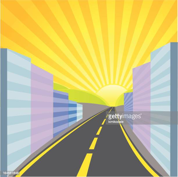 away from city - dividing line road marking stock illustrations, clip art, cartoons, & icons