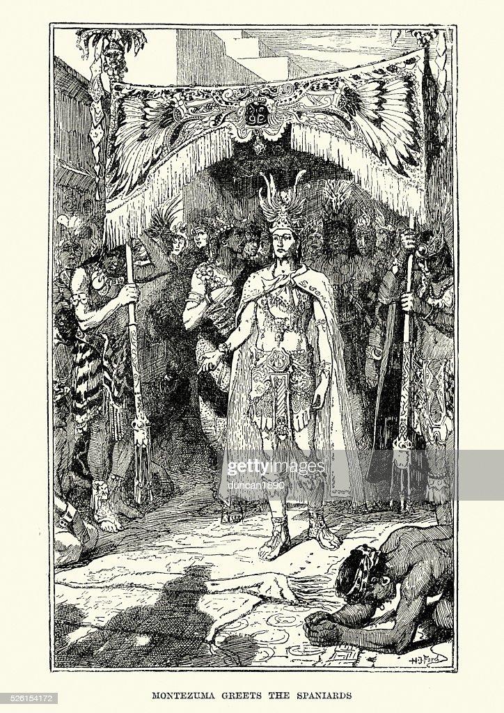 Azrec Imperador Montezuma cumprimenta os espanhóis. : Ilustração