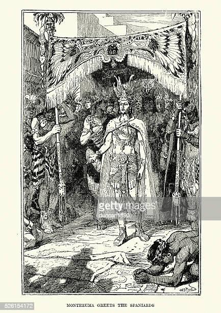 azrec emperor montezuma greets the spaniards. - aztec stock illustrations