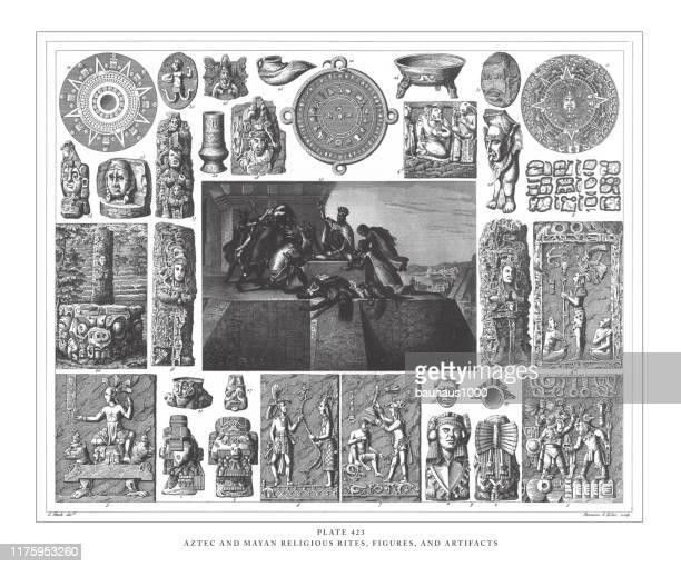 ilustraciones, imágenes clip art, dibujos animados e iconos de stock de ritos, figuras y artefactos religiosos aztecas y mayas, ilustración antigua de grabado, publicado en 1851 - calendario maya