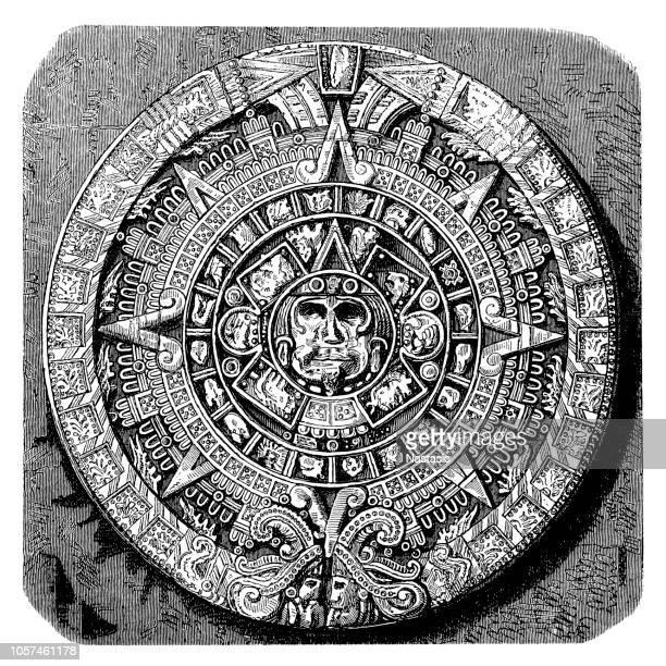 aztec calendar stone - latin american culture stock illustrations, clip art, cartoons, & icons