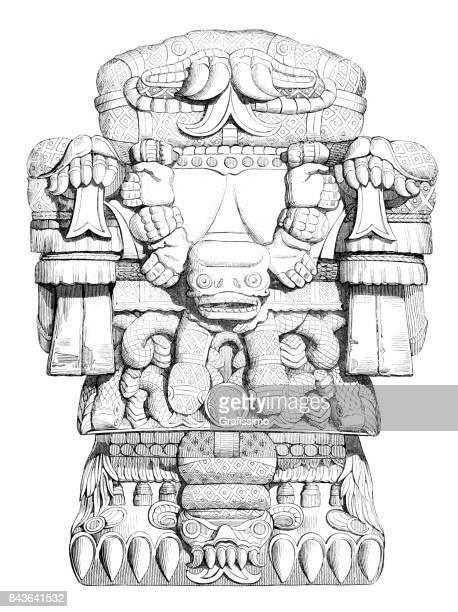 ilustrações de stock, clip art, desenhos animados e ícones de aztec god of dead lost souls called teoyaomicqui 1840 - astecas