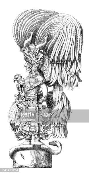 aztec goddess statue in yucatan mexico 1859 - aztec stock illustrations