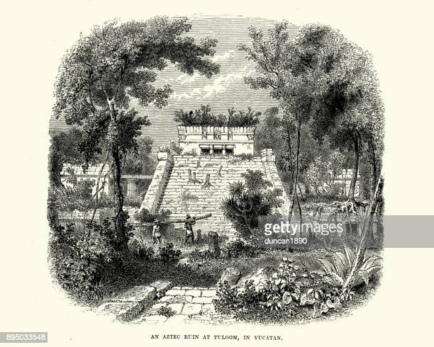 Aztec ruin at Tuloom, in Yucatan, Mexico, 19th Century