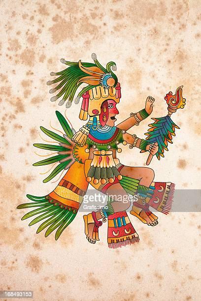 aztec shaman illustration on aged paper - aztec stock illustrations
