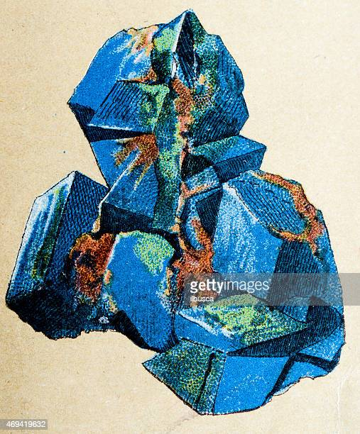 Azurite, mineral stone antique illustration