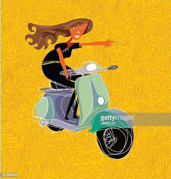 babe on vespa - vespa stock illustrations, clip art, cartoons, & icons