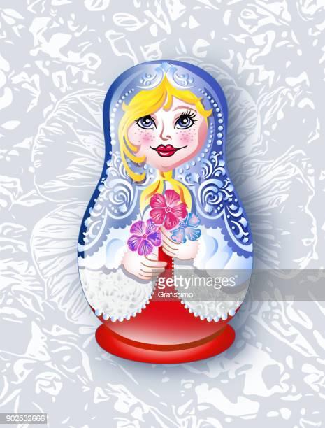 ilustrações, clipart, desenhos animados e ícones de boneca russa babushka em fundo floral - cultura russa