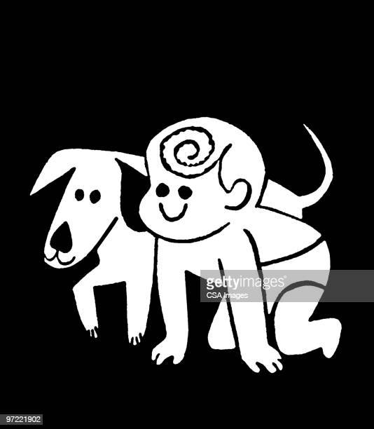 baby and dog - baby stock illustrations