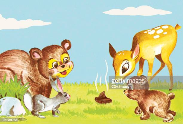 baby animals checking out fresh poo - feces stock illustrations, clip art, cartoons, & icons
