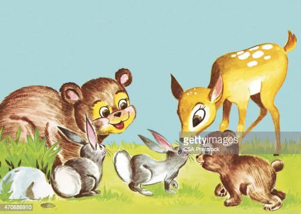 baby animals - bear cub stock illustrations