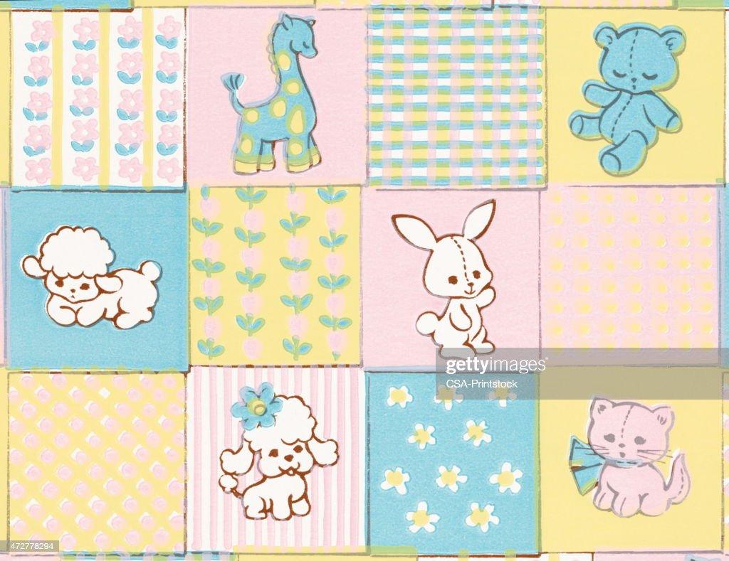 Baby animals pattern : stock illustration