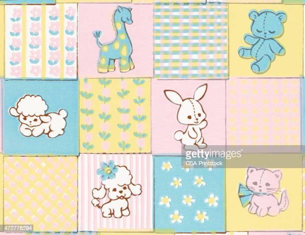 baby animals pattern - blanket stock illustrations, clip art, cartoons, & icons