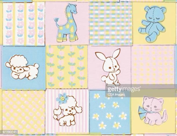 baby animals pattern - blanket stock illustrations
