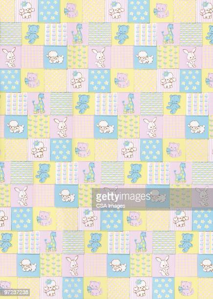 baby animals pattern - blanket texture stock illustrations, clip art, cartoons, & icons