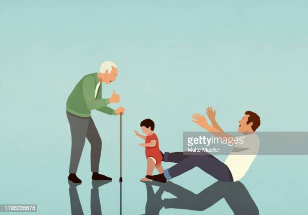 baby boy taking first steps from father to grandfather - baby stock illustrations
