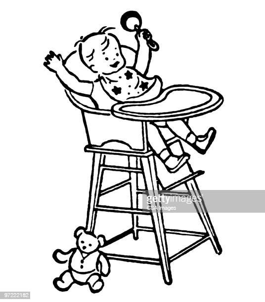 baby in high chair - toddler stock illustrations