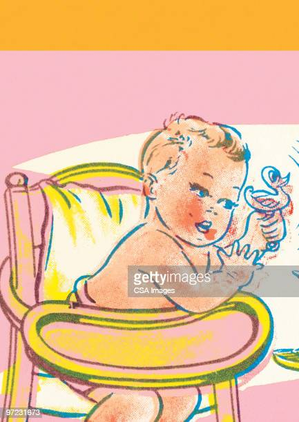 baby in high chair - baby stock illustrations