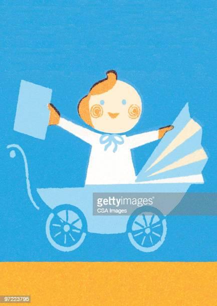 baby in pram - toddler stock illustrations