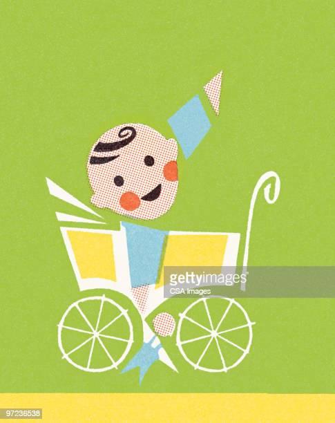baby in pram - baby stock illustrations