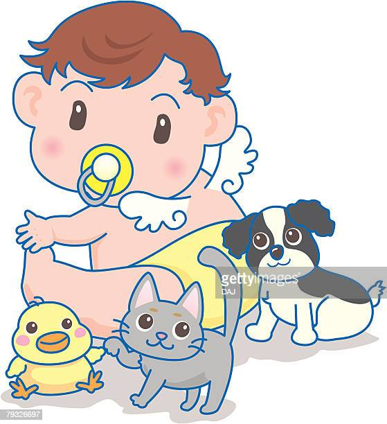 Baby like a angle and dog, cat, duck, rear view
