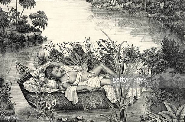 baby moses - old testament stock illustrations