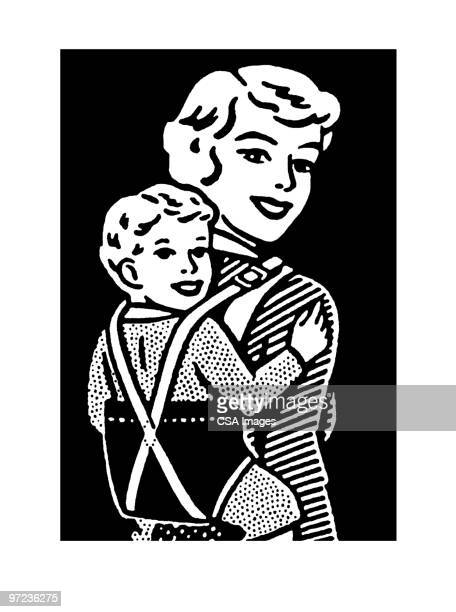 baby on back - toddler stock illustrations