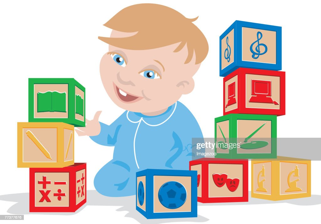 baby playing with blocks : Illustration