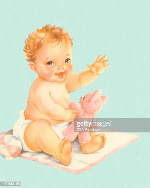 ilustraciones, imágenes clip art, dibujos animados e iconos de stock de bebé sentado en una manta - baby blanket
