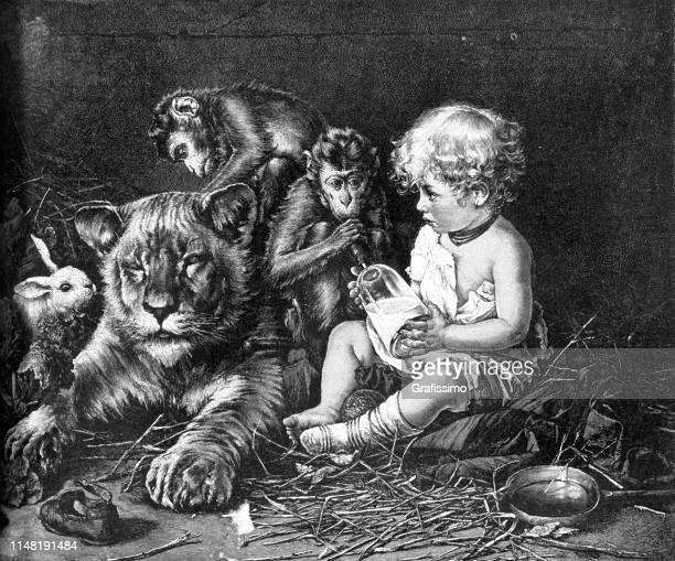 baby sitting with wild animals 1890 - old testament stock illustrations