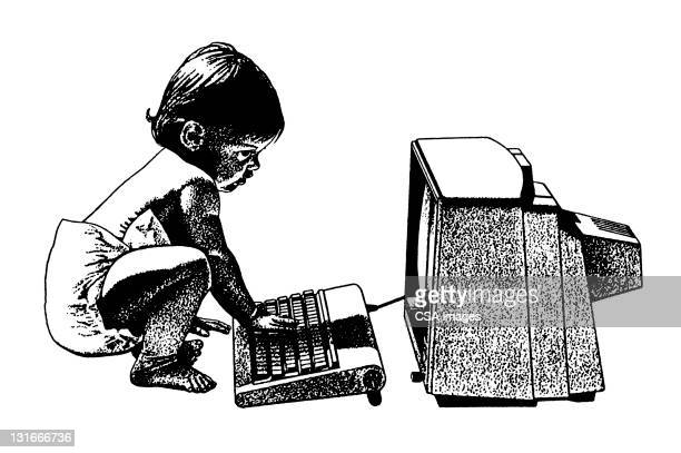 baby using computer - baby stock illustrations