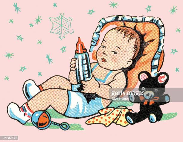 baby with toy rocket - baby stock illustrations