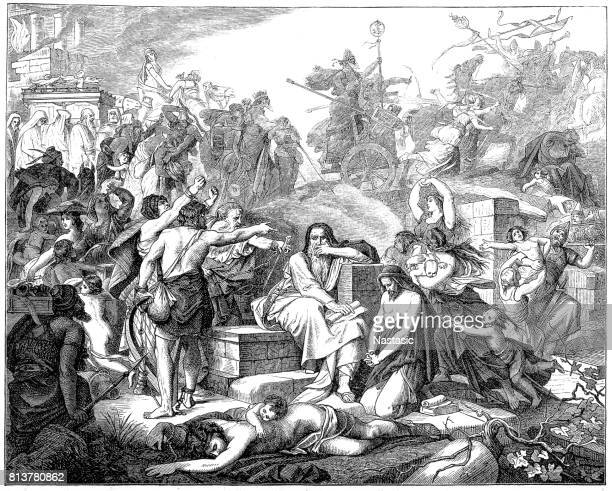 babylonian exile (597-539 bc) of the jews - ancient babylon stock illustrations