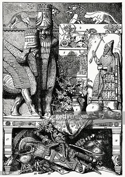 babylonian items from a palace - ninawa stock illustrations