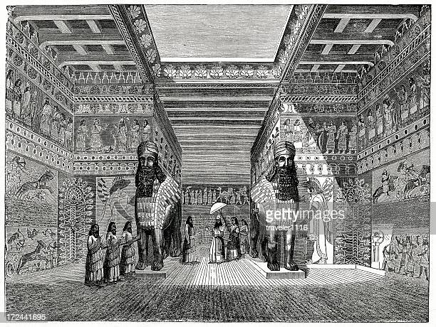 babylonian palace - ninawa stock illustrations