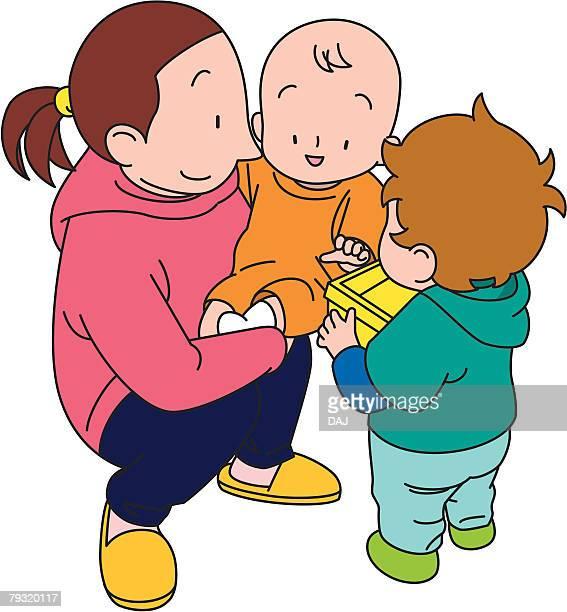 illustrations, cliparts, dessins animés et icônes de babysitter, illustrative technique - assistante maternelle