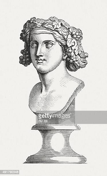 bacchante, ancient bust, published in 1878 - penitente people stock illustrations, clip art, cartoons, & icons