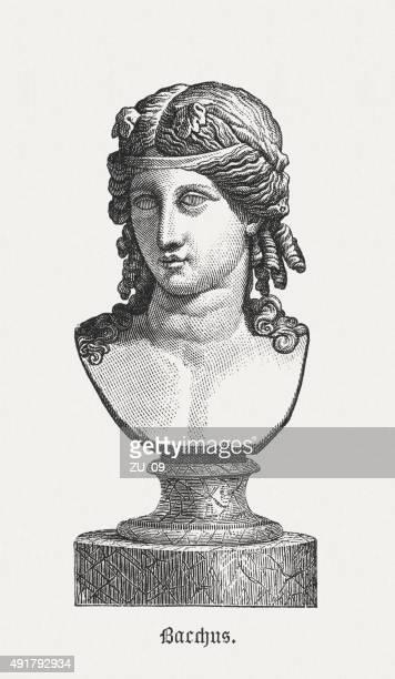 bacchus (or dionysus) - greek god of vine, published 1878 - penitente people stock illustrations, clip art, cartoons, & icons