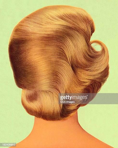 ilustrações de stock, clip art, desenhos animados e ícones de costas de mulher s head - loira