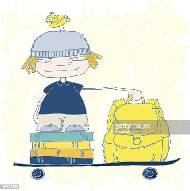 illustrations, cliparts, dessins animés et icônes de retour à l'école de garçon - première rentrée scolaire