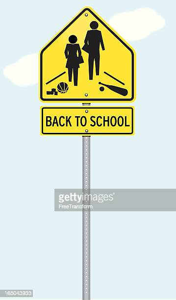 back to school sign - crossing sign stock illustrations, clip art, cartoons, & icons