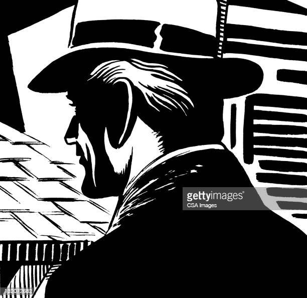 """ilustraciones, imágenes clip art, dibujos animados e iconos de stock de vista trasera del hombre en perfil en'u"""" - social grace"""