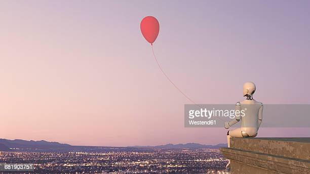 back view of robot sitting on edge of a roof with a balloon, 3d rendering - automated stock illustrations