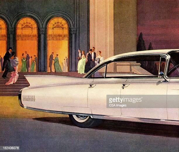 back view of vintage white car - gala stock illustrations